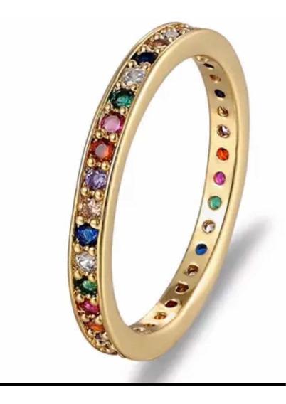 Anel Multicolorido Arco Íris Semi Joia No Ouro