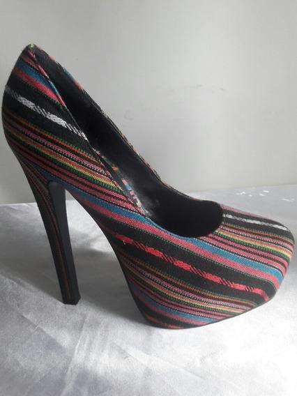Zapatos Stileto Taco Aguja Forrado En Tela Importados.