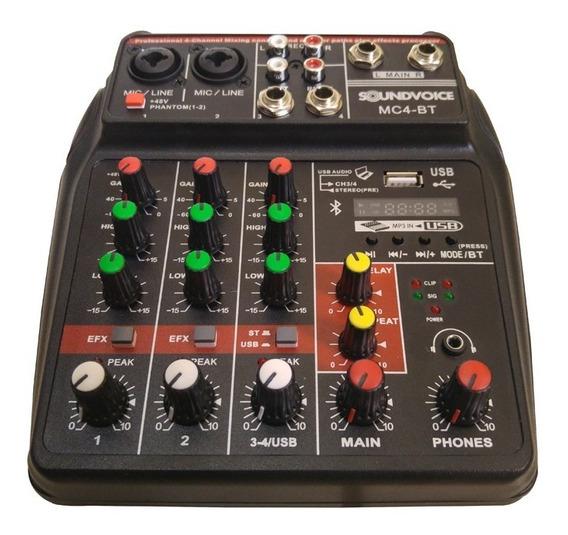 Mesa De Som 4 Canais Bluetooth Interface Gravação Usb Mc4bt