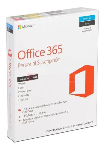 Imagen 1 de 4 de Microsoft Office 365 Personal Suscripción 1pc/mac + 1 Tablet