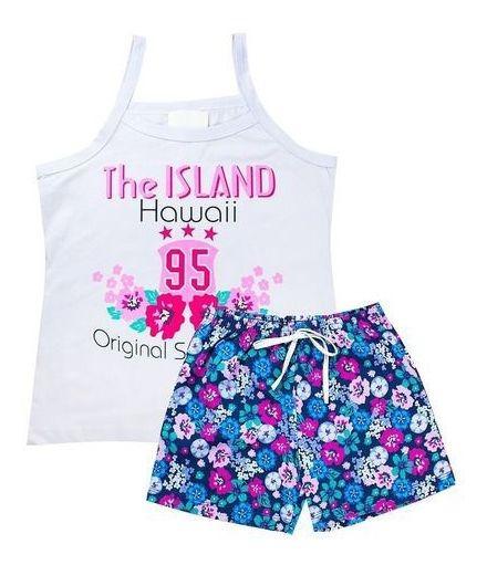 Kit 4 Conjuntos Blusas Shorts Meninas Verão Atacado Barato