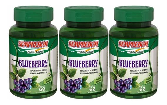 3 Blueberry 180 Caps 550mg Saúde Olhos Fruta Da Longevidade