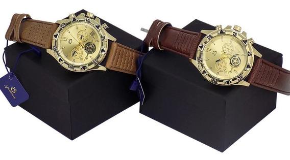 Kit Com 2 Relógios Orizom Spaceman Couro Original