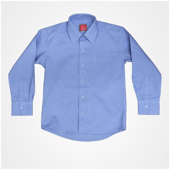 Camisa Manga Larga De Vestir Oscar Azul Con Tirantes Y Moño