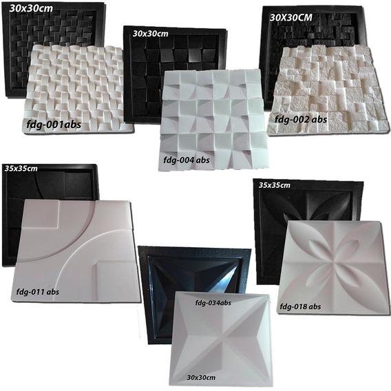 Kit 6 Formas P/ Gesso E Cimento Abs Preto 1mm