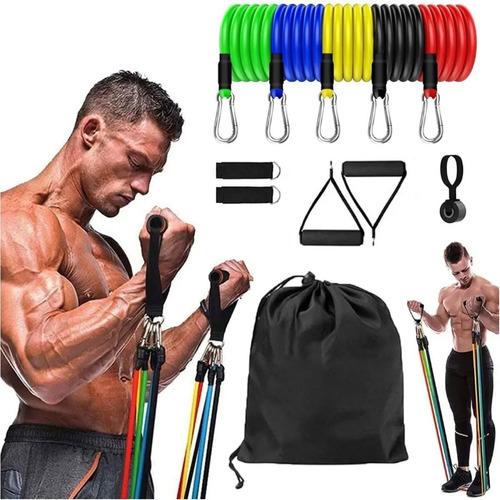 Kit Elásticos Exercícios Musculação Pilates Funcional 11 Pc