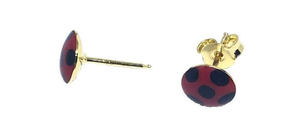 Brinco Infantil Ladybug Semijoia Resinado Banhado Ouro 18k