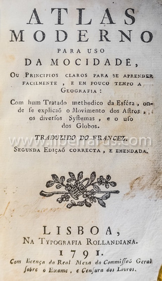 Livro Antigo Raro - Atlas Moderno Para Uso Da Mocidade- 1791