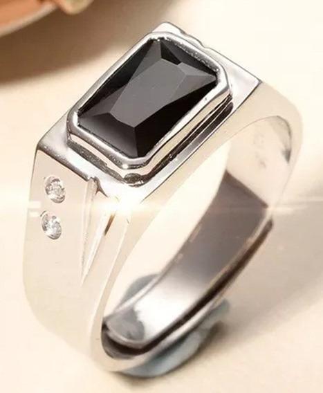 Anel Masculino Pedra Preta Elegante Prata 925 Ágata Natural