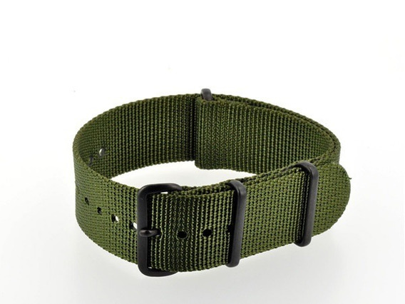 Pulseira Nylon Nato Premium Verde Militar 24 Mm Anéis Pretos