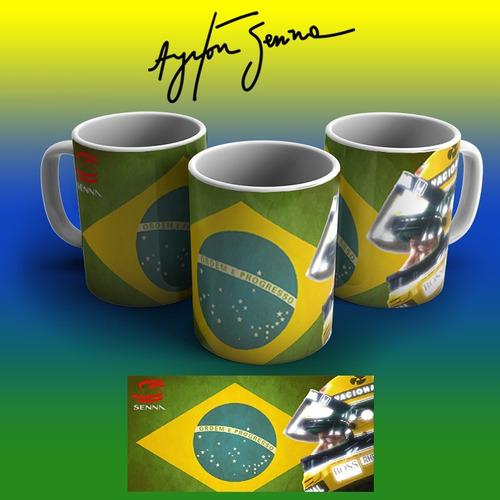 Imagem 1 de 1 de Caneca Ayrton Senna Porcelana Grátis Laço E Celofane!