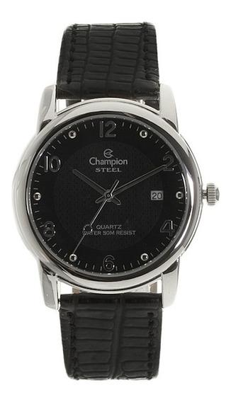 Relógio Champion Aço Pulseira De Couro Preto Ca20447t