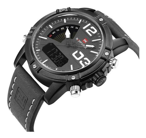 Relógio Naviforce Masculino Esportivo Digital Couro Original