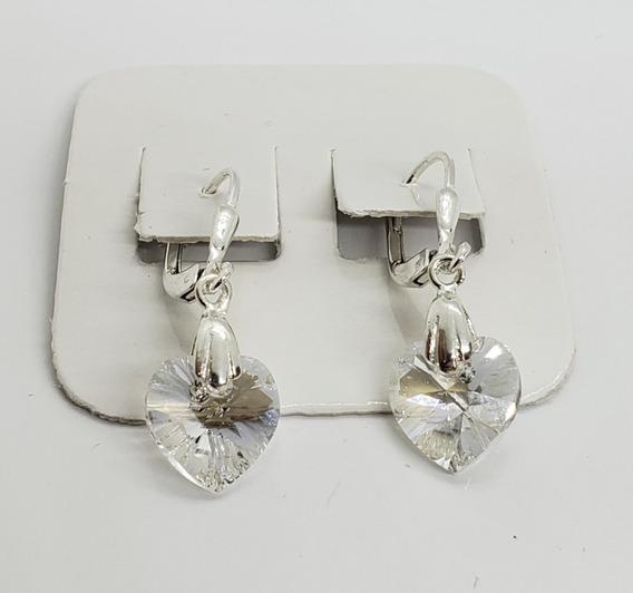 Aros Colgantes Plata 925-cristal Swarovski-blanco Traslucido