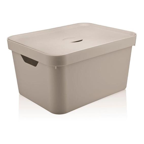 Caixa Organizadora Com Tampa Cube Bege 24x45cm - Ou