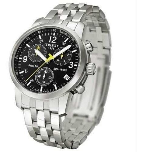 Relógio Tissot Prc 200 Preto Pulseira De Aço Original
