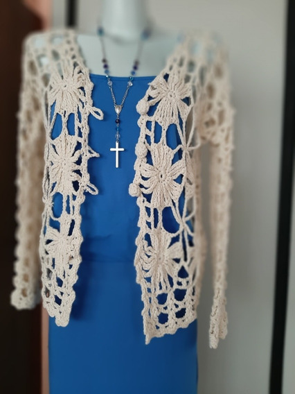 Impecable Saco Chaleco Crudo Al Crochet