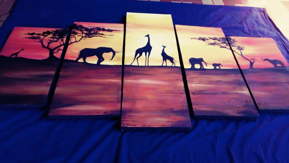 Paisaje Africano En Acrilico Sobre Lienzo Poliptico Triptico