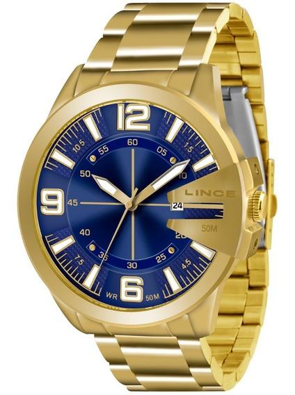 Relogio Lince Masculino Mrg4333s D2kx Dourado Azul Aço