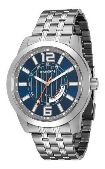 Relógio Masculino Mondaine 99079g0mvna1 Calendário Azul Novo
