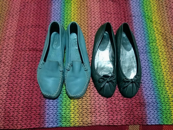 Lote Zapatos Chatitas De Cuero