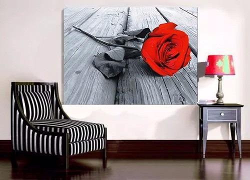 Quadro Decorativo 105x75 Rosa Vermelha Parede
