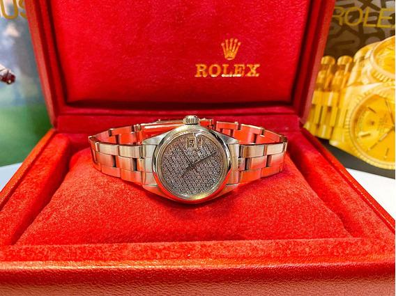 Rolex Date Aço Lady Com Mostrador Lotado De Diamantes!