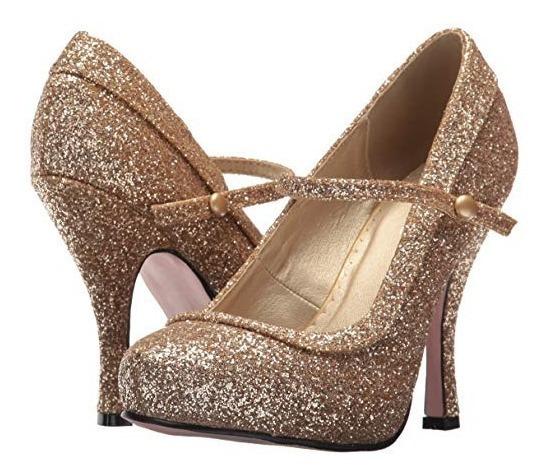 Zapatos De Glitter Dorados Para Damas Envio Gratis 1