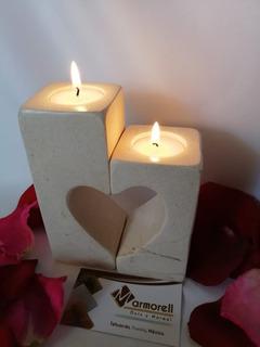 Portavelas De Mármol Con Diseño De Corazón. San Valentin