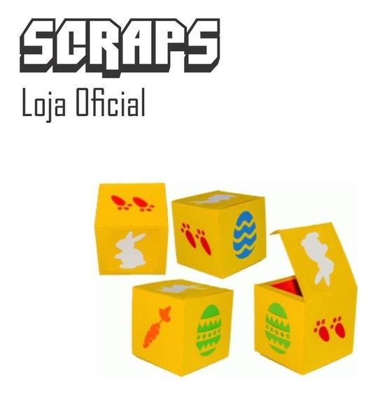 #0504 - Caixa 3d Cubo Desenhos Pascoa - Arquivo Silhouette