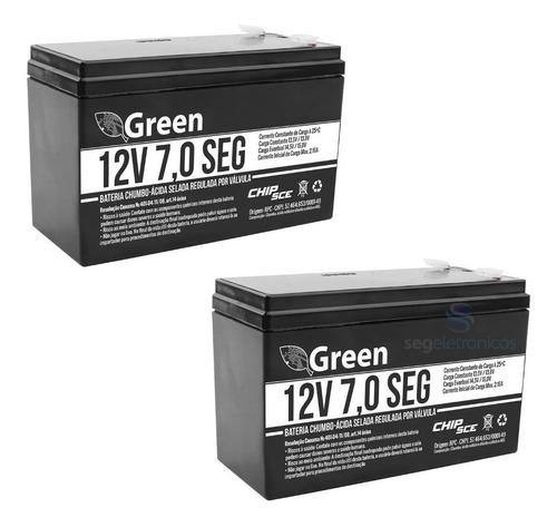 Imagem 1 de 4 de Kit 2 Bateria 12v 7a Green Alarme Cerca Elétrica Nobreak