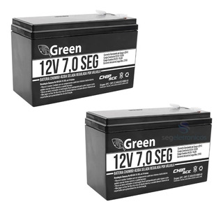Kit 2 Bateria 12v 7a Green Alarme Cerca Elétrica Nobreak