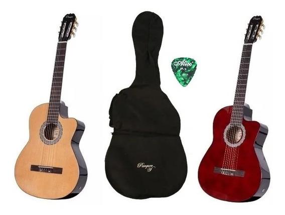 Guitarra Criolla Electroacustica Parquer Corte Funda Pua