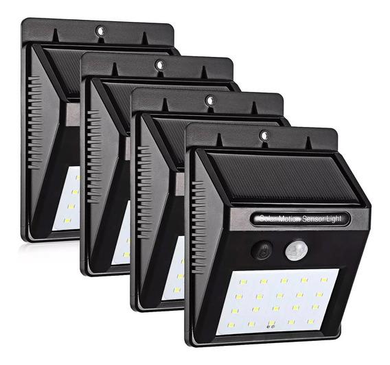 Kit 4 Luminárias Solar 20 Leds Sensor Movimento Luz Preto