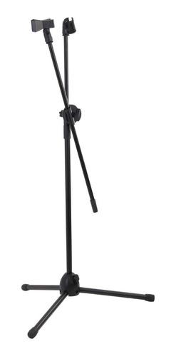 Pedestal Parantes Base De Microfono Doble De Metal, Negro