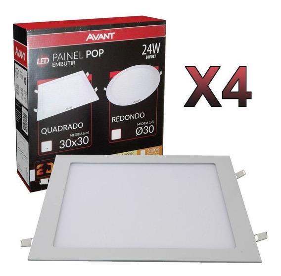 Kit 4 Plafon Led Embutir Quadrado 24w Comercial Residencial