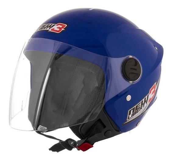 Capacete para moto aberto Pro Tork New Liberty Three azul tamanho 58