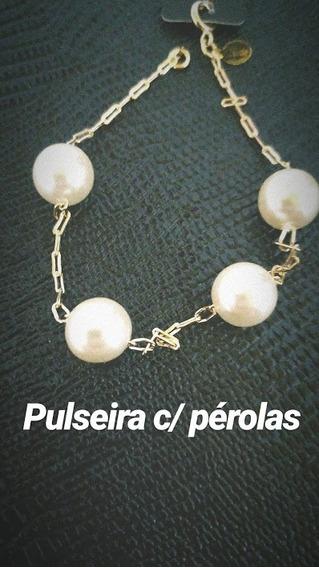 Pulseira C/ Pérolas Lisas - 18k - Pronta Entrega