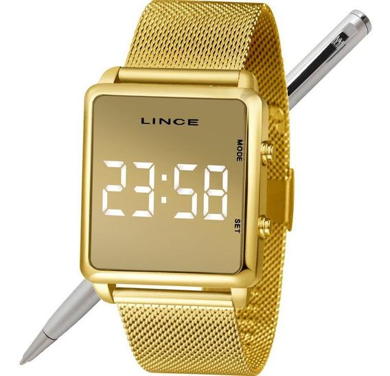 Relógio Lince Led Unissex Mdg4619l Bxkx Dourado - Led Branco