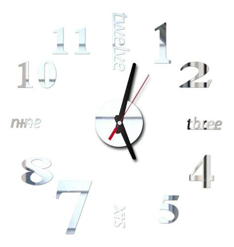 Imagen 1 de 6 de Reloj Pared Adhesivo Mudo 3d Moderno Para Decoración Bricola