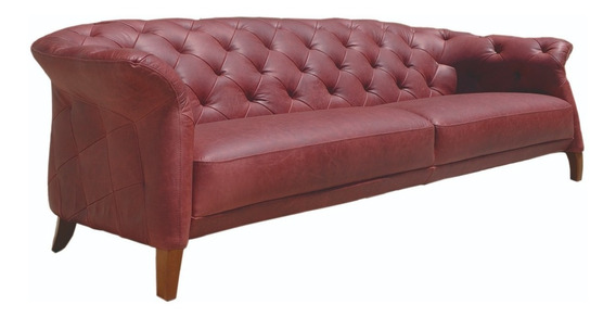Sillon Sofa Divanlito New Chesterfield Tabu Cuero Italiano 2,56m
