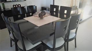 Comedor 8 Sillas + Marmol Al Centro + Buffetera + Espejo