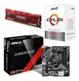 Kit Amd Athlon 200ge + Asrock A320m Hd + Bl 4gb 2400 Mhz