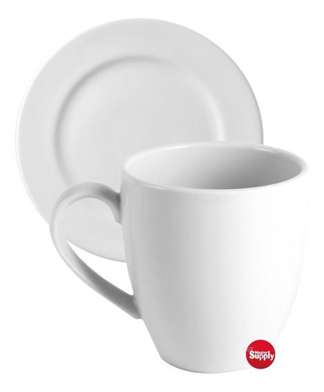 Set Jarro Mug C/ Plato Tsuji 1600 Taza 390 Ml Café Té Blanco