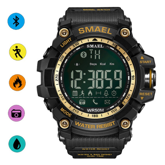 Smael Reloj Deportivo Bluetooth Podómetro Calorías Consumo