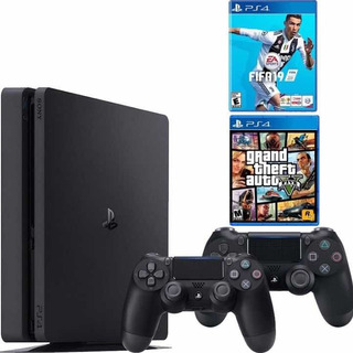 Consola Play Station 4 Ps4 Slim 500 Gb + 2 Controles + Juego