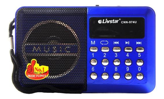 Mini-rádio Portátil Leitor Sd Usb Mp3 Fm Digital Cnn-974u