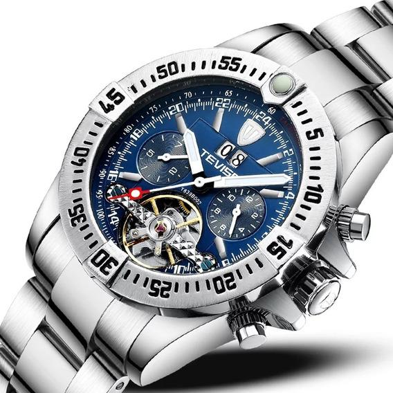 Relógio Tevise Automático Mecânico Inox 839 Original Azul