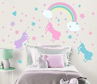 Unicornio Pared Pegatinas Pastel Las Niñas Habitación Decor