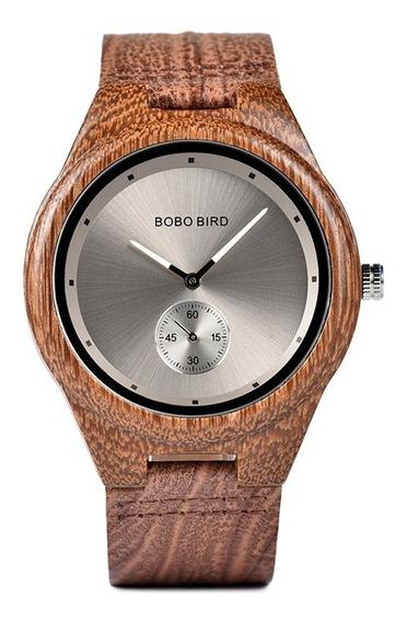 Relógio Unissex Madeira Analógico Bobo Bird Q24 Lançamento